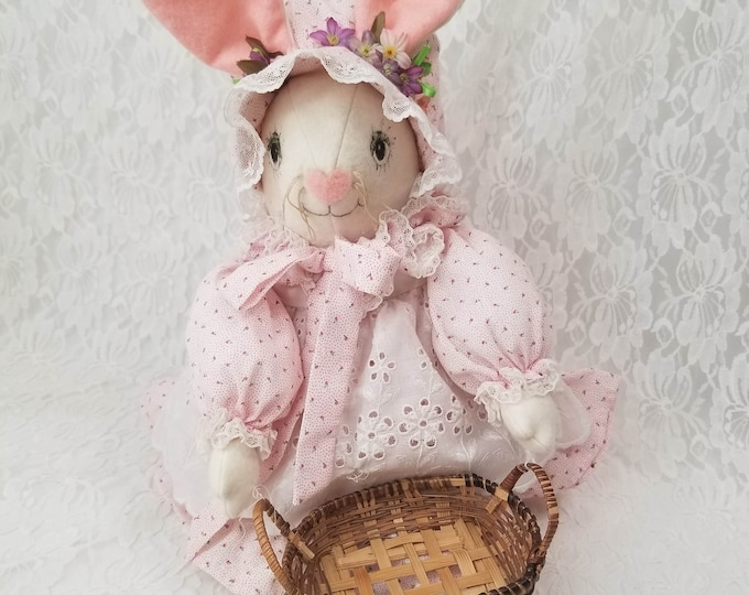 "Handmade 1980s 16""  OOAK Cloth Bunny Rabbit Hare Girl Doll ~ Carrying a Wicker Basket ~ Textile Rag Doll"