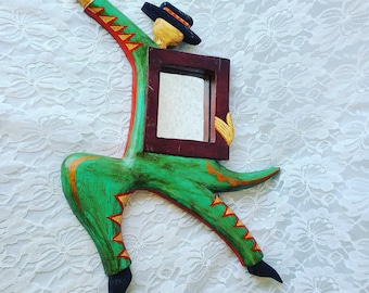 """Wood Carved Creole Zoot Suit Hand Painted Wooden Wall Hanging Mirror ~ 14"""" by 10"""" ~ Spanish Dancer? Flamenco?"""