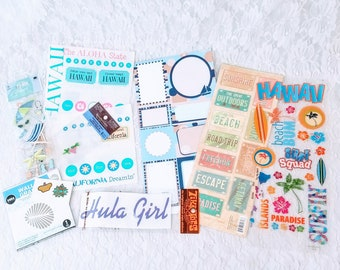 HUGE Lot of Beach Vacation Themed Stickers, Die Cuts, Brads, and Scrapbooking Supplies for Paper Crafts, Card-making, Scrapbooks