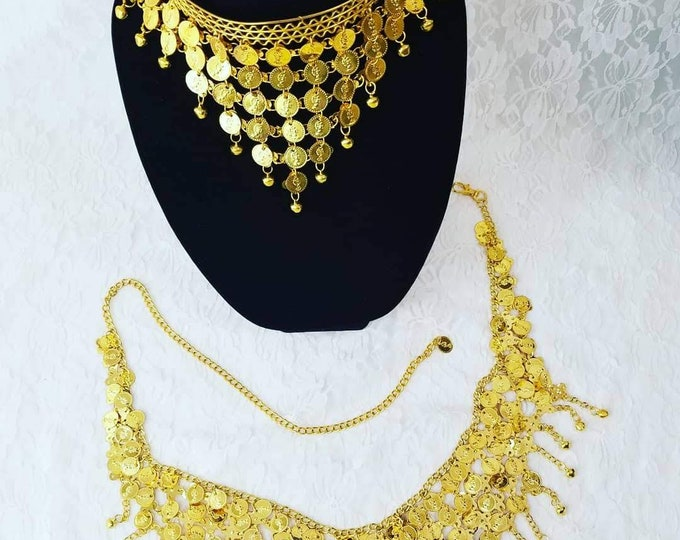 Lot of Two (2) GOLD! Vintage Burlesque Belly Dancing Necklace/Headpiece and Jingly Belt ~ Costume Jewelry ~ Gold Coins ~ Noisy Jingles