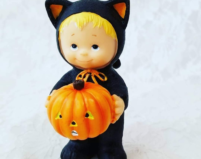 "Vintage Little Child in a Cat Costume Holding a Pumpkin ~ Halloween Resin Sculpture 3.75"" Figurine ~ Ruth Morehead Collectible"