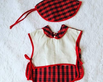"""Cute 1950s Factory Made Apron Dress with Matching Hat ~ Fits on 16-22"""" Composition or Hard Plastic Fashion Dolls ~ Toni or Debuteen"""