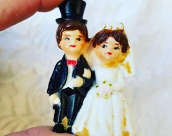 Vintage 1950s Miniature Celluloid Cake Topper ~ Bridal Shower, Anniversary ~ Vintage Wedding ~ Celebration
