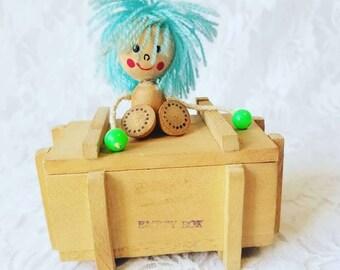 WEIRD Kitschy Vintage 1970s Japanese Doll on Wooden Jewelry Box ~ Watch or Bracelet Box ~ Stash Box ~ Vintage Anime