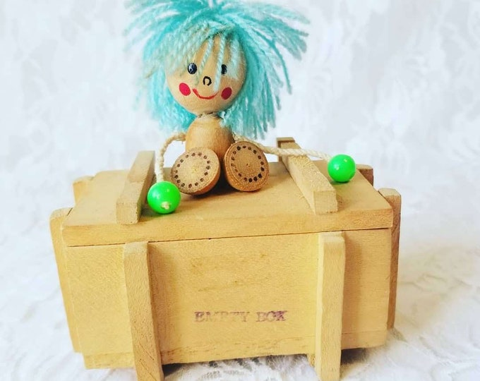 Vintage 1970s Japanese Doll on Wooden Jewelry Box ~ Watch or Bracelet Box ~ Stash Box ~ Vintage Anime