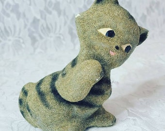 Flocked Chalkware CAT Figurine ~ Mid Century ~ 1950's Hong Kong ~ Very Unique Chalk-Ware Cat With Velveteen-Like Fur Texture ~ Sold AS-IS