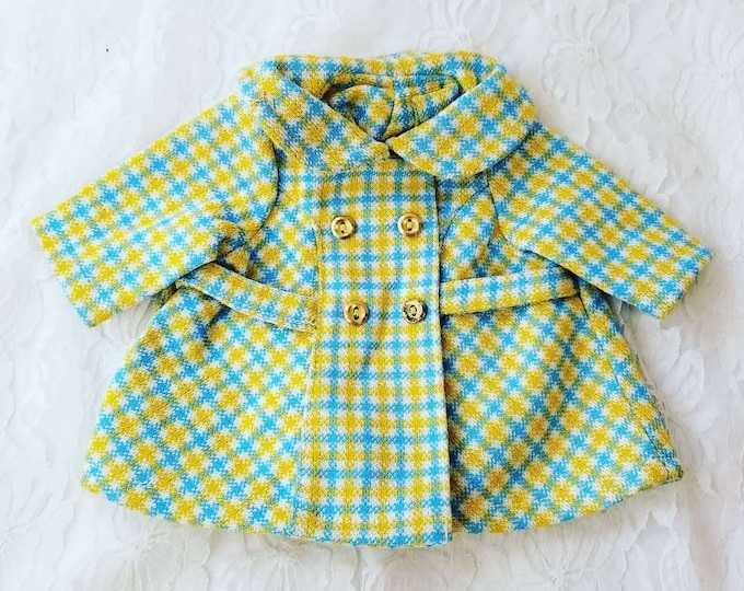 """Amazing 1950s Plaid Blue and Yellow Overcoat Jacket for Vintage Doll ~ Will Fit AG Dolls, Composition and Vintage Dolls 14-22"""""""