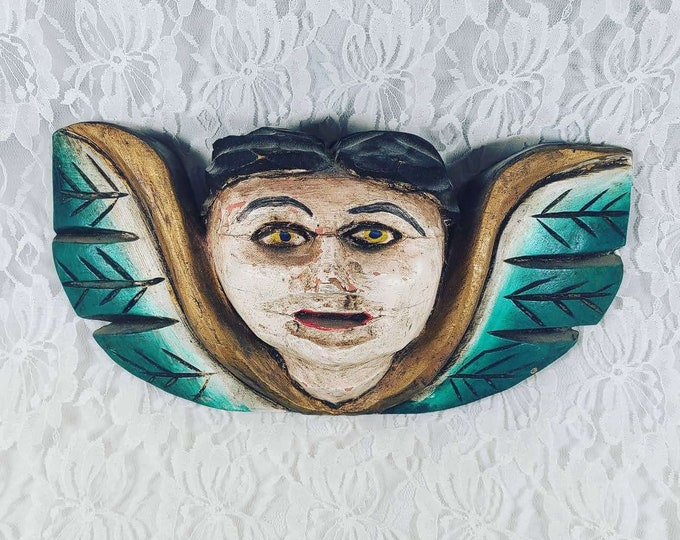 """Intensely Beautiful Teal Vintage Folk Art Balinese Angel Goddess ~ Carved Wood Bali Wall ART Old Indonesian 12"""" by 5"""""""