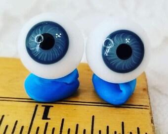 Vintage Pair (2 eyes) Blown Blue Glass Doll Eyes 15mm Wide ~ Repair Restoration or Parts ~ Doll Making ~ Doll Eyes