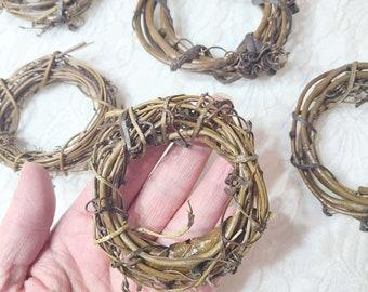"Destash Small Grapevine Wreath Set of Two (2) 2-4"" Vine Vines Primitive Wreath ~ Wedding ~ Pagan ~ Altar Supplies ~ Miniature Wreaths"
