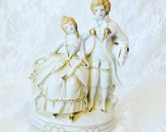 French Revolution Era Couple Porcelain Bisque Figurines Vintage ~ Made in Japan 1940-50 ~ Hand Painted Cake Topper? Rococo Style