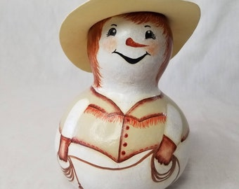 CLEARANCE Gourd Doll ~ Cowgirl Snowman Whimsical Gourd ~ Hand Painted Carved Gourd ~ Country Theme ~ Home Decor