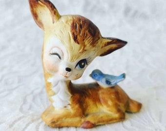 Vintage Collectible Mid Century Deer Doe Figurine Statue ~ Kelvin's Figurine ~ 1950s Ceramic Deer ~ Marked, Original Sticker