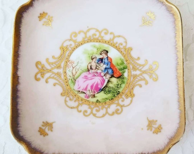 Lefton China Hand Painted Victorian Couple Trinket Dish Ring Tray ~ Ring Holder ~ Sold AS-IS See all pics