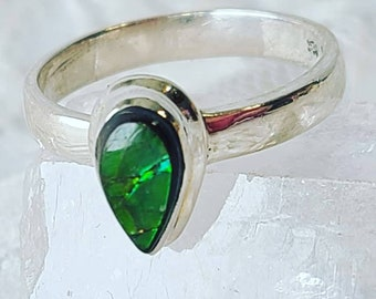 Unique Teardrop Shape GREEN Ammonite Fossil RING Size 8 ~ Activate Chi ~ Atlantean and Lemurian Visions