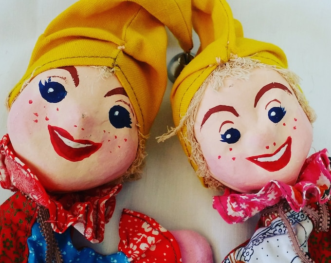 Vintage Russian handmade Paper Mache Boy and Girl Hand Puppets ~ Mid Century Kitsch Collector Hand Puppets
