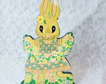 Easter Decorations Vintage 1980s Wooden Handmade Easter Bunny Freestanding Wood Table Ornament ~ Easter Bunny Art