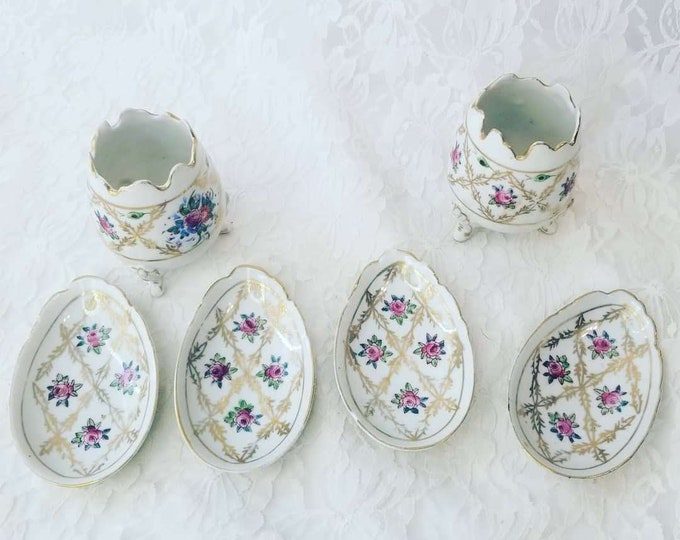 Set of Footed Egg Vases (2) and Egg Trays (4) Antique Napcoware Porcelain Victorian ~ Hand Painted ~ Spring Decor ~ Easter Decoration