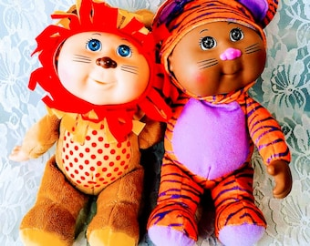 """Set of Two (2) Cabbage Patch Kid Cuties ~ Lion and Cat ~ Excellent Condition ~ 9"""" Tall"""