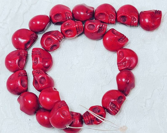 One Strand (24) Howlite RED Stone 15mm Skeleton Skull Bead ~ Skull Beads  ~ Jewelry Making ~ Carved Stone ~ Drilled Pendant Bead