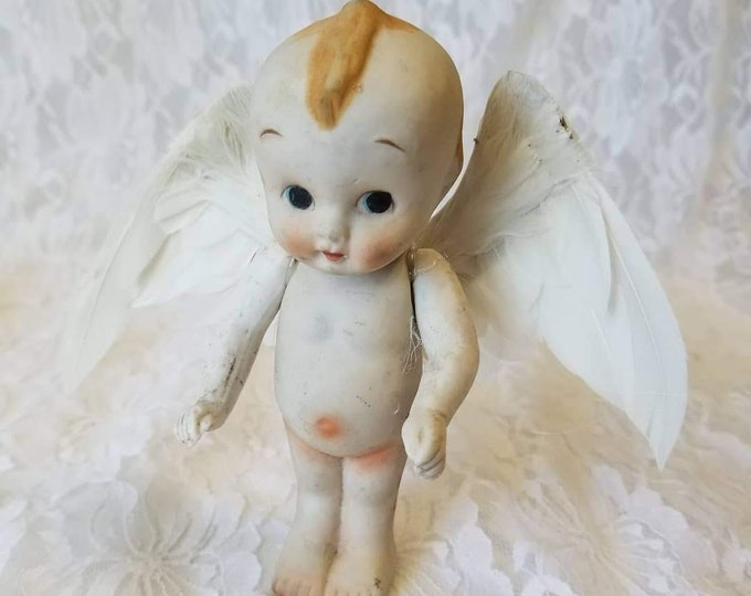 OOAK Porcelain Kewpie Cupid Doll with Wings ~ Assemblage Doll ~ Art ~ Repurposed ~ Mixed Media ~ Unique Gift for Lover!