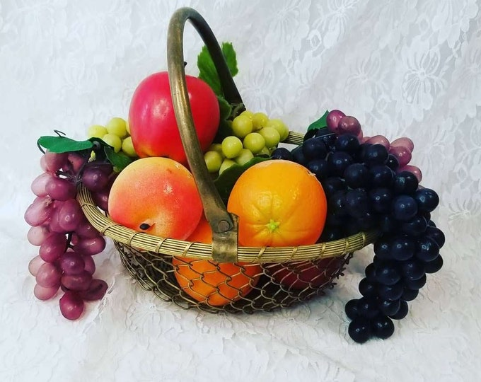 Fabulous Collection of 10 Pieces of Plastic Life Size Fruits and Vegetables In a Brass Basket ~ Perfect for Display ~ Home Staging