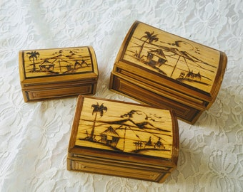 Vintage Hand Painted Indonesian Nesting Bamboo Boxes ~ Intricate Wood Burning Design ~ Red Velvet Inside