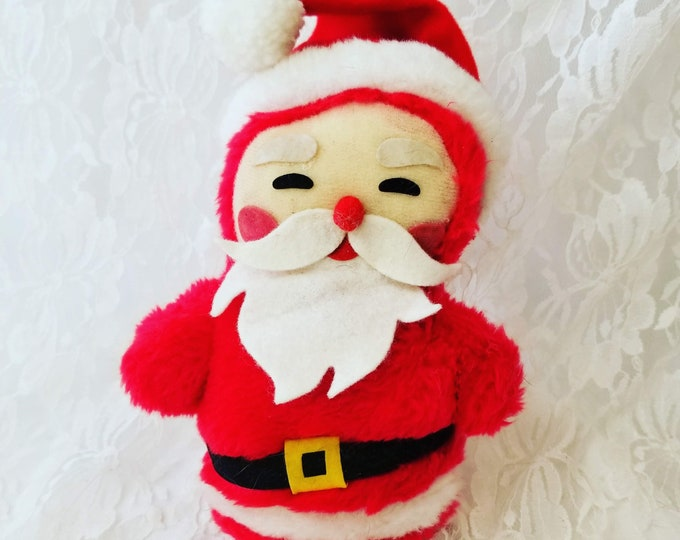 "1980s Retro Christmas Stuffed Santa Claus ~ Rustic Holiday Decor ~ Christmas Decoration 6"" tall"