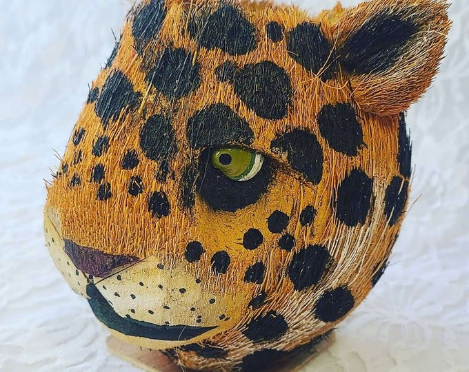 Mexican Jaguar Alebrije ~ Hand Painted Mexican Folk Art ~ Coconut Carving ~ Tiger ~ Panther ~ Cup ~ Container ~ Signed