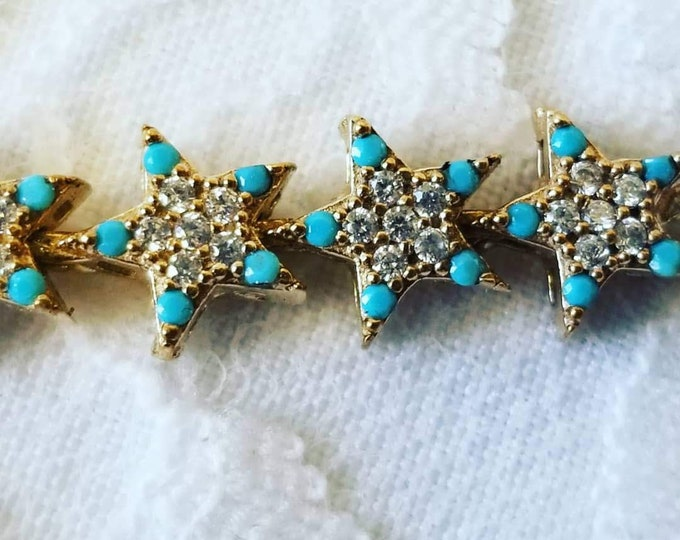 Delicate and Beautiful FINE JEWELRY Star Bracelet ~ White Topaz, Turquoise, Ruby ~ Sterling Silver and Brass ~ Adjustable ~ Made in Istanbul