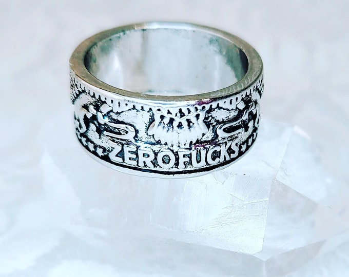 Coin Ring ~ Zero Fawkes ~ Gift for Best Friend, Brother, or Yourself ~ Sterling Silver Stamped 925 ~ Comes in Gift Box