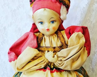 """RUSSIA ~ Russian Vinyl or Celluloid TEA Cosy 20"""" Doll ~ Kettle Warmer ~ Handmade ~ Woven Ribbons ~ Plastic Head and Limbs"""