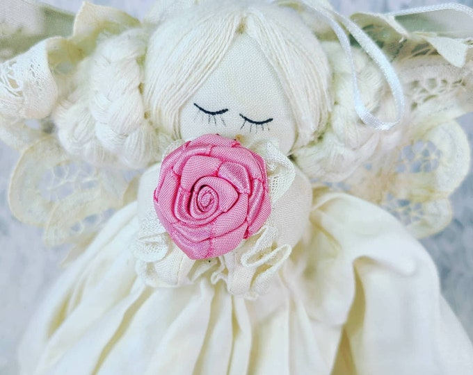"""Victorian Battenburg Lace Angel ~ Small 12"""" Handmade Primitive Shabby Aged Ivory Cloth Angel Ornament ~ Tree Topper"""