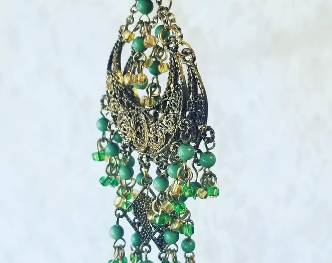 Vintage Burlesque Belly Dancing Earrings ~ Green and Brass ~ Costume Jewelry ~ Green Bead and Brass ~ Noisy Jingles
