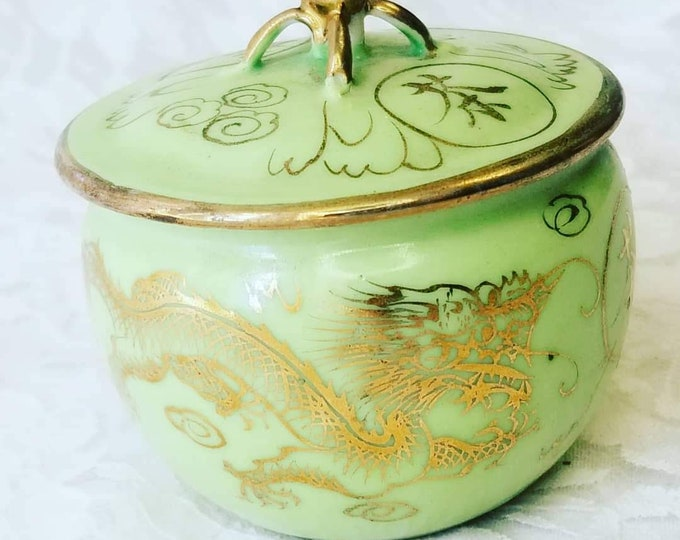 """Vintage Chinese Ginger Jar with LID ~ 1950s Decor ~ Chinese Dragon in 22kt Gold ~ 2.25"""" tall ~ Marked on Bottom ~ Made in China"""
