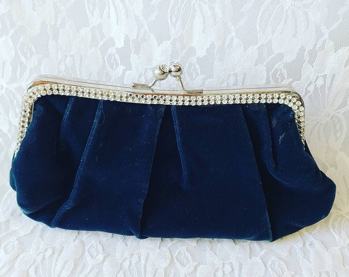 Vintage 1980's Velvet Blue Teal Jeweled Clutch Purse Handbag ~ Trimmed with Rhinestones ~ Pink Inside! Removable Straps