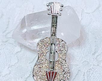 Vintage GUITAR Silver Tone Pave Clear Cut Glass Rhinestone Brooch ~ Music Lover Gift ~ Vintage Rhinestone Pin
