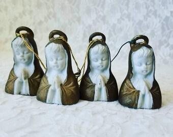 Antique 1950s Ardalt Japan Set of Four (4) Christmas Ornaments Praying Nun ~ Virgin Mary ~ Holiday Decoration Retro Decor