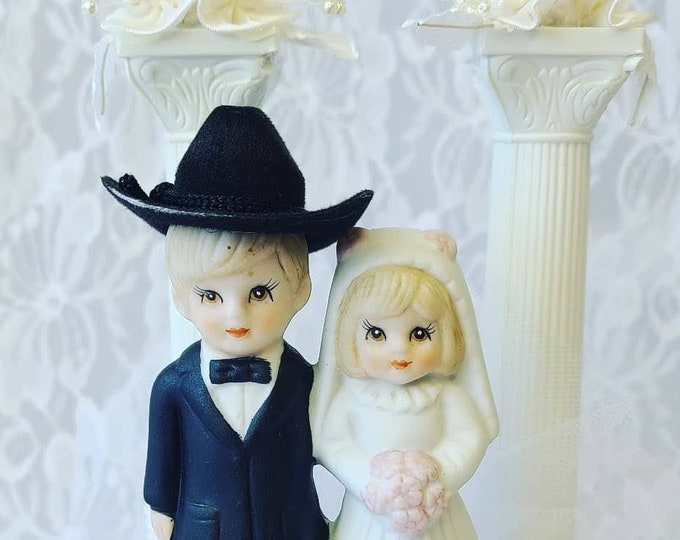 Antique 1950's Bride and Groom Figurine ~ Wedding Cake Topper and Plastic Dome ~ Cowboy and Bride ~ Great Condition ~ Couple ~ Anniversary