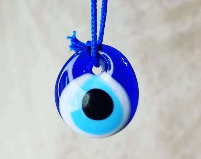 Evil Eye Amulet ~ Protection From Bad Energy ~ Pendant ~ Blown Glass Bead ~ Found in Istanbul