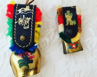 Amazing Vintage Brass Bell ~ Set of TWO ~ Switzerland Geneva Souvenir ~ Bell ~ Chime Bell ~ Brooch Bell