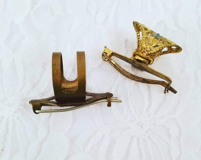1900s Antique Victorian Barrettes ~ Set of Two ~ Brass Colored