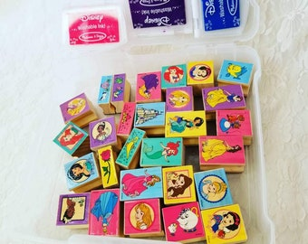 Lot of 28 Wooden Rubber Stamps for Scrapbooking or Paper Crafting - All DISNEY! Designs -  Comes with 3 Pads of Colored Ink