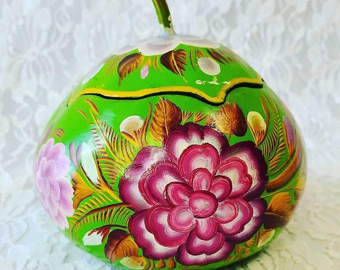 "Artist Made Beautiful VINTAGE Gourd Bowl With Lid 6"" ~ Hand Painted Floral Gourd Box ~ Czech Republic ~ Home Decor ~ Altar Piece ~ Folk Art"