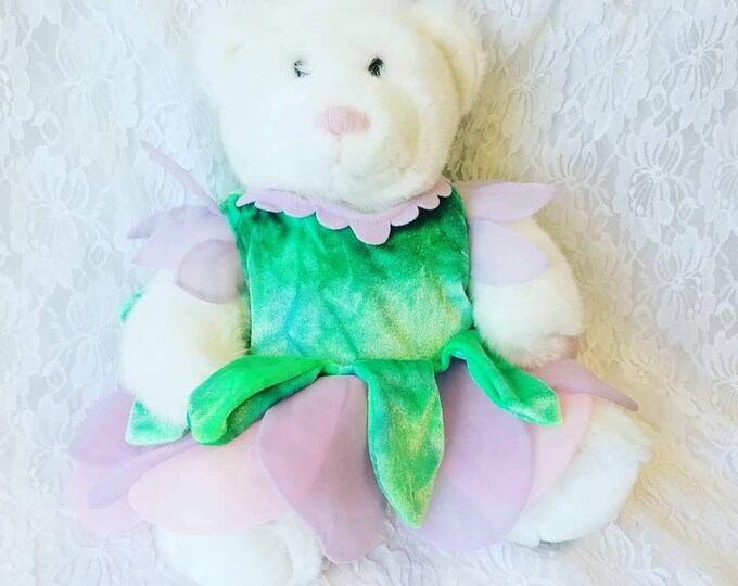 """RETIRED Build a Bear White 15"""" Bear with Pink Nose ~ Wearing Tinkerbell Costume ~ As Photographed"""