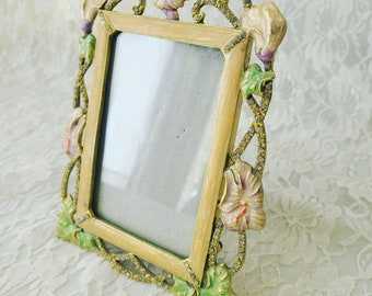 Metal Art Deco Enameled Embellished Rhinestone Photo Picture Frame ~ Fill with Pics for Mother's Day ~ Holds 6x4 Picture