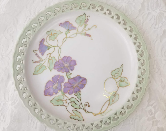 Rare Vintage Pierced Plate Signed by Artist ~ Decorative Plate Wall Hanging