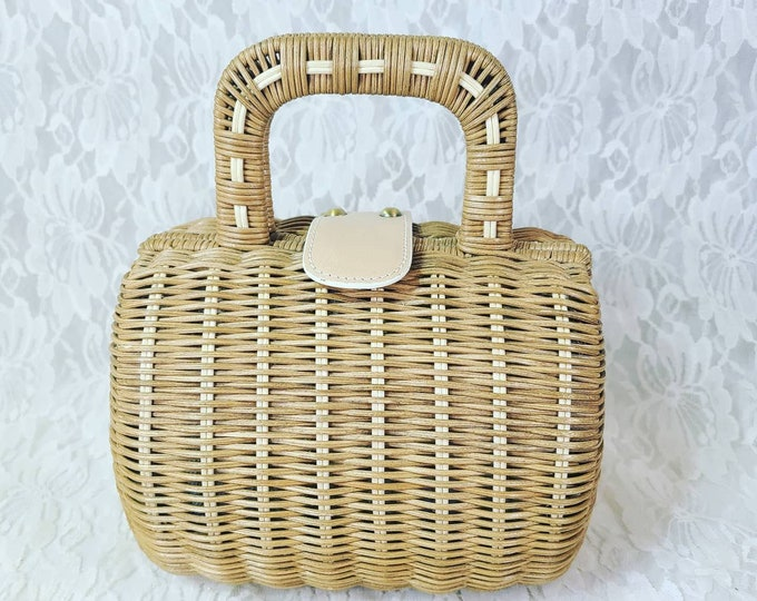 Vintage 1950's Style ROCKABILLY Wicker Box Clutch Purse Handbag ~ Maxx New York ~ Magnetic Closure ~ Hard-Shell Top Handle ~ Vintage Prom
