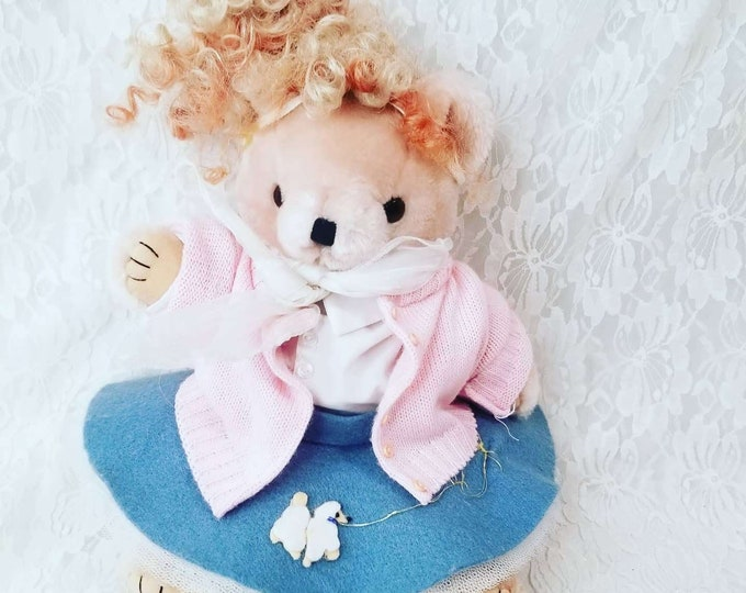 Handmade 1950s OOAK Jointed Art Bear ~ Teddy Bear Dressed Like SANDY from Grease! ~ Jointed, Handmade ~ Unique ~ Rockabilly Bear
