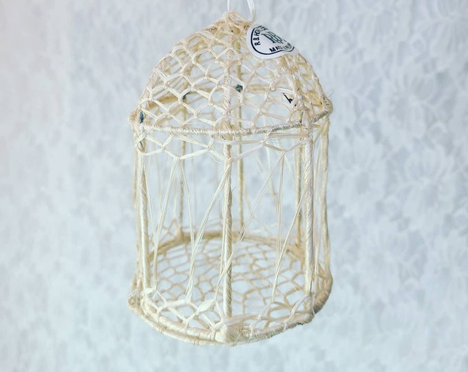 One (1) Miniature Natural Sinamay Bird Cage ~ Made in Indonesia ~ Perfect for Crafting